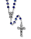 SAPPHIRE COLORED GLASS BEAD ROSARY